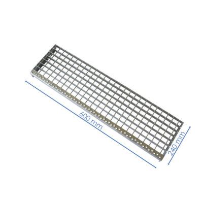 LÉPCSŐELEM / P 230-33-3 / 600x240 mm / Lp szegés belépőéllel, oldallappal / S235JR horganyzott